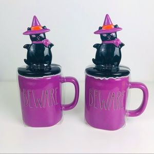 Rae Dunn Set of 2 Halloween Beware Purple Mug with Cat Witch Topper